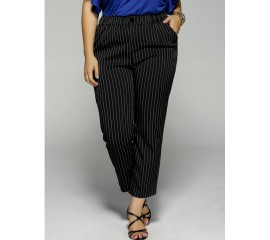 Three Quater Black Striped Pants