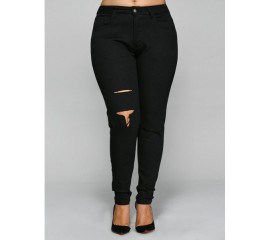 Black Pencil Ripped Jeans
