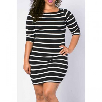 Casual Striped Bodycon Dress