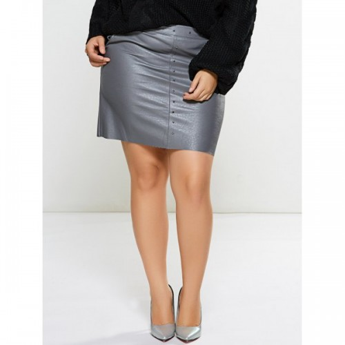 Silver Faux Leather Skirt