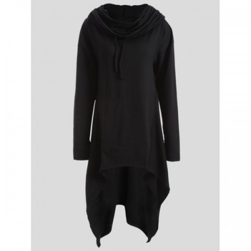 Long Black Lined Hooded Jacket
