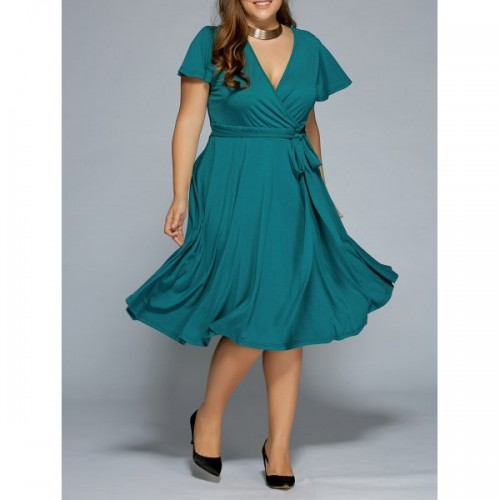 V-Neck Tie Waist Dress