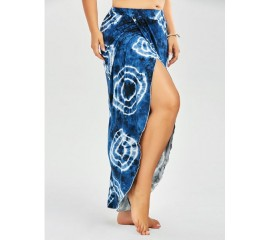 Tie Dye Long Wrap Skirt