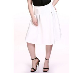 White Pleated Business Skirt